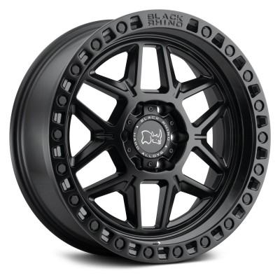 20X9.0 6X135 ET12 BLACK RHINO KELSO MATTE BLACK W ETBLACK BOLTS